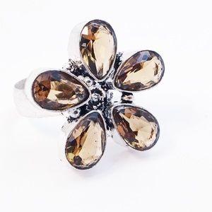 Sterling Silver Sim Topaz Crystal Ring Sz 7